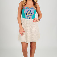 Stay Or Leave Dress: Cream/Multi