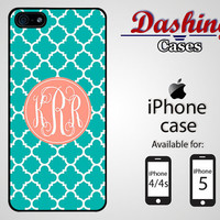 Personalized iPhone case for iPhone 4 & 4s and 5 - turquoise quatrefoil and pink monogram case - 020