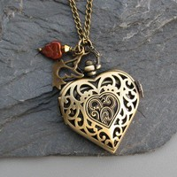 For Your Love Locket Watch Necklace Antique by ArtInspiredGifts