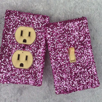 Hot Pink Glitter Switchplate / Outlet Cover Pair