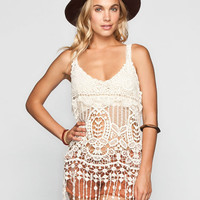 Say What? Womens Crochet Fringe Tank Ivory  In Sizes