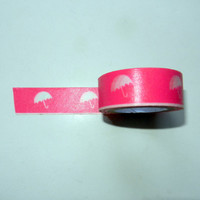 Hot Pink Washi Tape with Umbrellas