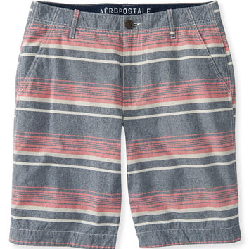 Horizontal Stripe Flat-Front Shorts