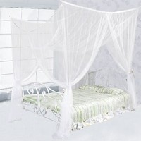 TMS® 4 (Four) Corner Post Bed White Canopy Mosquito Net Full Queen King Size Netting