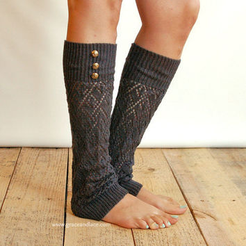 LouLou - Graphite: Open-work Leg Warmers w/ antique gold metal buttons - Legwarmers (item no. 9-23)