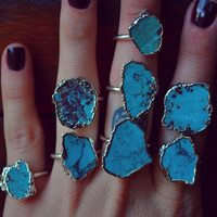 LUX DIVINE /// Turquoise and Silver /// Stackable Gemstone Fine Silver Electroformed Ring