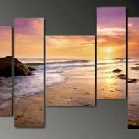 Art Hand Painted Modern Abstract Oil Painting on Canvas Wall Art Deco Home Decoration Hawaii Beach Seashore Sunrise 5 Pic/set Stretched Ready to Hang