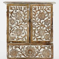 Carved Wood Jewelry Cabinet- Light Brown One