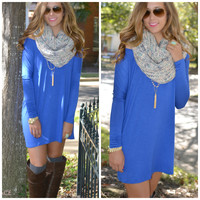 SZ LARGE Time Well Wasted Royal Long Sleeve Dress