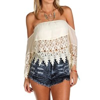 Promo-white Off The Shoulder Crop Top