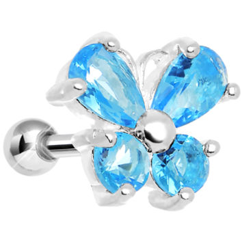 925 Silver Aqua Gem Wing Butterfly Cartilage Tragus Earring | Body Candy Body Jewelry