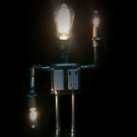 Mr. Robot Man, Robot Desk Lamp, Industrial Robot Lamp, Robot USB Charger, Geeky Desk Lamp, Robot Lamp
