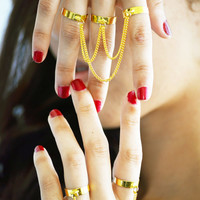 Ring Bohemian Boho Finger Feather Turquoise Charm Silver Chain Drape Jewelry Mallory Triple Gold Ring Set
