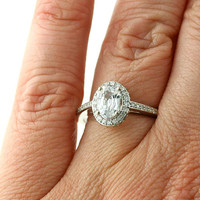 Oval White Sapphire Engagement Ring Oval Diamond Halo Setting 14K White Yellow Rose Gold Bridal Jewelry
