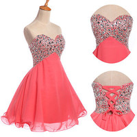 BEADED Sequins Homecoming Ball Formal Prom Bridesmaid Party Gown Short Dresses