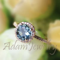 Solid 14K Yellow Gold Halo 7mm Round Aquamarine Ring  0.27ct Diamonds  Engagement Ring/ Promise Wedding Ring/Anniversary Ring