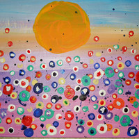 Poppies in a Field Abstract Painting SFA Original Artwork