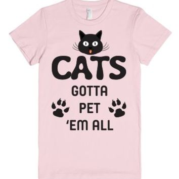 Cats - Gotta Pet 'Em All - T Shirt-Unisex Light Pink T-Shirt