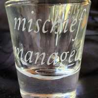 Harry Potter Mischief Managed marauders Map Inspired Etched shot Glass Set of 2