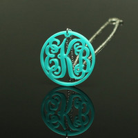 Circle Vine Acrylic Monogram Necklace Custom Pendant Turquoise Acrylic - silver or gold chain