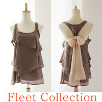 DESERT AURA  Mocha Taupe Sleeveless Blouse with by FleetCollection