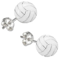 $5 - $8.99 | Enamel Post Volleyball Earrings