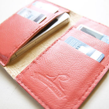 Leather iPhone Wallet in Floral Embossed Ivory