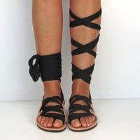 """Leather Sandals, handmade, Unique design, with satin jersey plisse scarf straps in black """"APHRODITE"""" AS14 All sizes Available"""