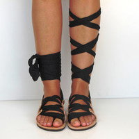Leather Sandals, handmade, Unique design, with satin jersey plisse scarf straps in black - All sizes Available