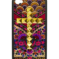 Flora Royalle Gold Studded Cross iPhone 4/4s Case