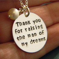 """Thank You Solid Sterling Silver, Custom Made, Hand Stamped Personalized Mother-in-law Necklace with Freshwater Pearl Charm on 7/8"""" Disc"""