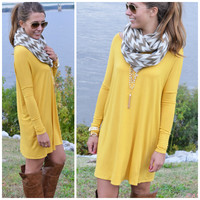 Time Well Wasted Mustard Long Sleeve Dress