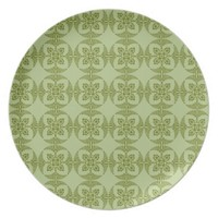 Geometric Floral Pattern in Green Plates