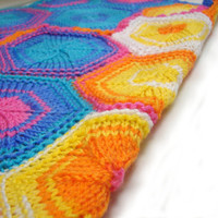 Unisex baby blanket knitted with hexagons, blue, pink, yellow, white, unique stroller blanket, easy care soft acrylic READY TO SHIP