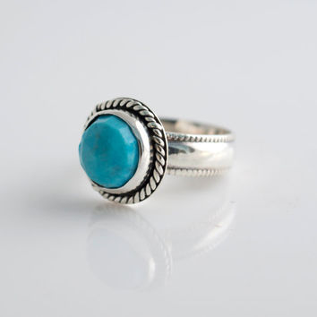 Turquoise and Silver Ring, Sterling Silver Ring, Stacking Ring, Rose Cut Gemstone