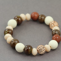Natural Brown and Gold Beaded Bracelet : Rose Gold, White and Champagne Pave Beads, Whitewood Beads, Bronze, Chocolate, Handmade in Canada
