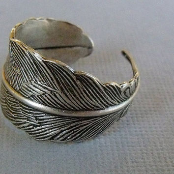 Silver Feather Ring, Feather wrap Ring, Adjustable Feather Ring