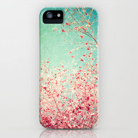 Blue Autumn, Pink leafs on blue, turquoise, green, aqua sky iPhone Case by Andreka Photography   Society6
