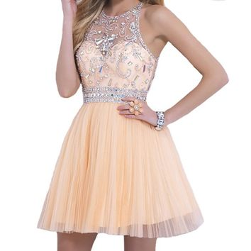 VILAVI Women's A-line Round Brought Short Tulle Crystal Prom Dresses 2 Daffodil