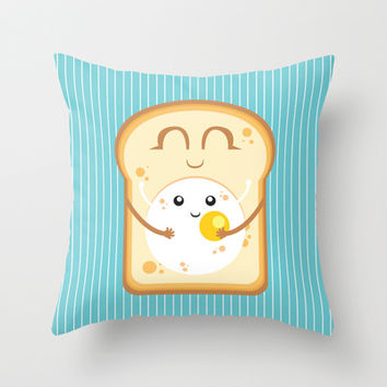 Hug the Egg Throw Pillow by Alessandro Aru