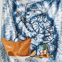 Magical Thinking Overdyed Ganesha Tapestry- Blue One