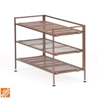 Seville Classics 3-Tier Mesh Utility Shoe Rack in Bronze-SHE15909 - The Home Depot