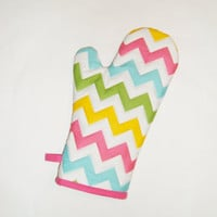 Chevron Oven Mitt - Rainbow Colors - Mother's Day Gift Under 20