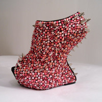 Pink Rhinestone Spiked Wedges Pink Paradise READ by uniquezaccess