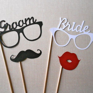 Groom and Bride Glasses Photo Booth Prop Set. Photo Booth Props. Wedding Accessories. Mustaches and Lips. Set of 4.