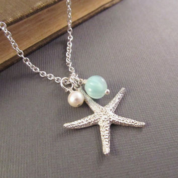 Starfish Necklace, Silver Sea Star Charm with Pearl and Seafoam Dangle, Beach Wedding, Bridesmaid Gift, Fashion Jewelry