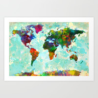 Abstract World Map Art Print by Gary Grayson