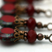 Vintage Style Copper and Czech Coin Deep Red Tortoise Edge Bead Dangle Charm Drop Set