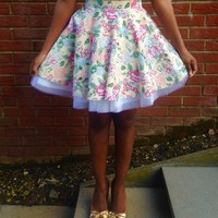 Yellow Floral Full Circle Skirt | Style Icon`s Closet