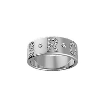 Sterling Silver 7MM Pave' Diamond Initial Band